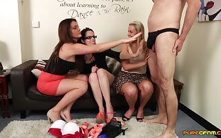 Bush-league guy enjoys getting his dick pleasured by Adele Reddish and friends