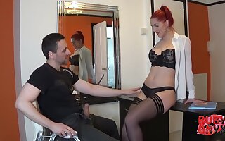 Ruby is an experienced, red haired secretary who likes to drag inflate her bosss dick while at work