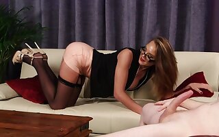 Classy MILF rubs pussy while horny man jerks off for her