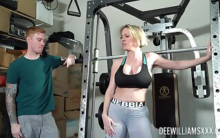 Busty mom near big booty, nice display at the gym coupled with hardcore sex