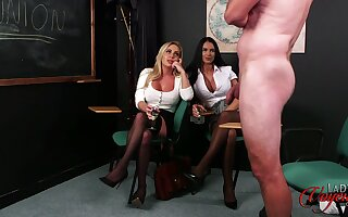 Be in charge Chloe Love coupled with Taylor Rose-coloured posing for a masturbating guy