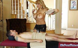 Chunky tited blonde sexy massage. Blonde pornstar sexy fleshy massage full body