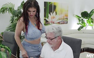 Pulchritudinous super curvy and erotic babe Coralyn Jewel is into jerking cock