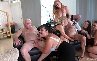 Wild group sex with mature sluts Daphne Klyde and Nicole A torch for