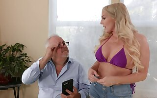 Nothing pleases this blonde belle better than a senior cock on Viagra
