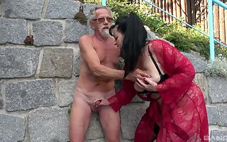 Old unshaded shares her man's senior cock with the skinny niece