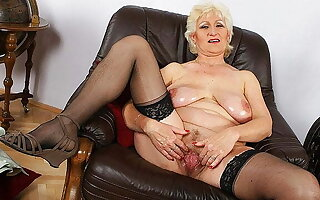 Busty 72 year age-old mom shows their way big meat hole