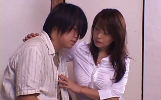 Prudish pussy model Rui opens her legs to ride a large dick