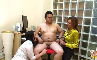 Fat Asian dude gets his dick pleasured by Kaicee Marie & Katie Raymond