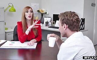 Money MILF with huge tits fucks her personal doodah at work
