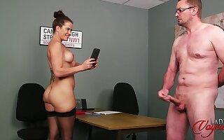 Hand-picked secretary teases her boss to make him cum - Sarah Snow