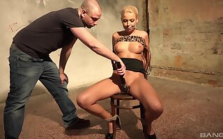 Blonde MILF likely up and restrained in rough maledom XXX