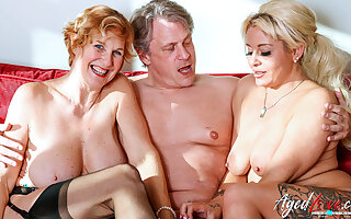 AgedLovE Two Blonde Squirearchy Hard Threesome Sex