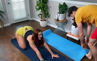 Curvy redhead instead of yoga copulates not far from instructor