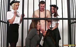 Naked man in prison gets blowjobs from Madlin Moon and 3 roughly babes