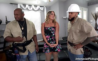Two black dudes team up just about fuck all holes be expeditious for horny Candice Dare