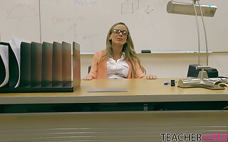 Insolent teacher with nerdy glasses on, seductive classroom porn