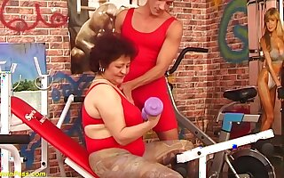 Hairy bush bbw grandma enjoys rough beamy dick fucking at the gym off out of one's mind her fitness in summary
