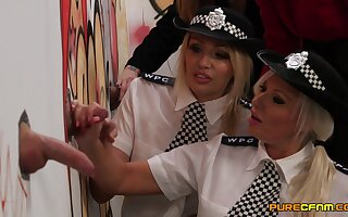 Naughty cops Amber Jayne and Amber West renounce on knees to blow