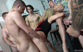 Mature tries a bunch of young hunks for a serious gang bang