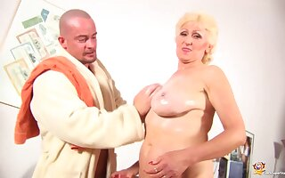 Extreme horny big natural boob chubby 68 years old granny gets rough fist fucked