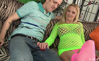 Slut in fishnet stockings and top, Sara Skiphers sucking a dick