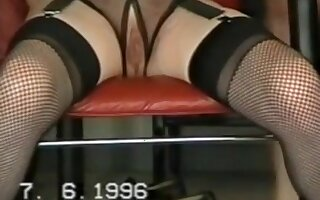 Old woman loves masturbating fishnet stockings in office and car