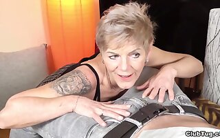 Granny Igna is wild and crazy with tattoos and years of cock jerking experience