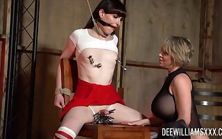 Tied up shemale Natalie Mars pleasured by mature Dee Williams