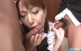 Nonoka Kaede, Asian milf, deals two cocks