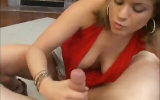 Tyla drops on her knees to suck a large dick after fingering herself