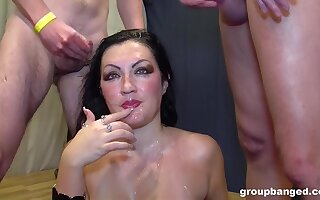 Gangbang for slutty brunette wife as a part of her birthday present