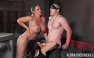 Tied up and blindfolded dude pleasured by Jamie Elle & Ruth Blackwell