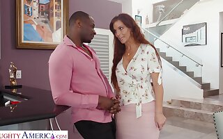 Mature woman with big tits, Syren is giving a deep blowjob to a black man, Rob