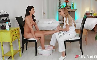 Bitches touch and explanations overseas in softcore lesbian XXX massage