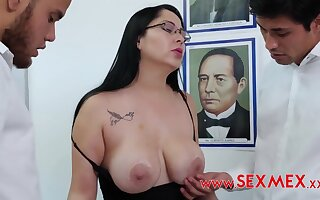 Busty Teacher Gets Pounded Unconnected with Two Latina Guys