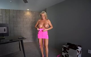 Busty blonde woman looks pretty in pink, but even better anon she takes the dress off