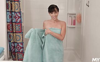 Stepmom dirty talking and masturbating wet pussy in the shower