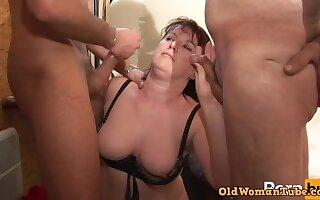 Nice Amateur Chubby Mature DP Threesome fucked hard