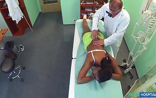 Ebony girl filmed adjacent to inseparable instantly riding her doctor's dick