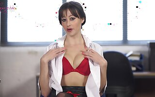 Unattended pretty girl in red lingerie and stockings Jenny and say no to hot solo