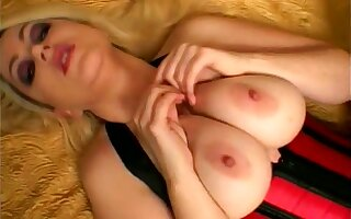 Busty blonde wild whore in corset is horny about riding strong blarney