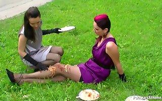 Kinky girls food amulet fun outdoor