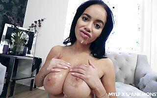 Shove around beauty soaks boobs in sperm after a pleasant POV