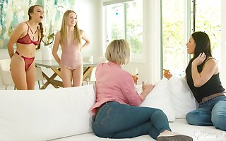 Stepmoms vs stepdaughters in the hottest lesbian orgy every